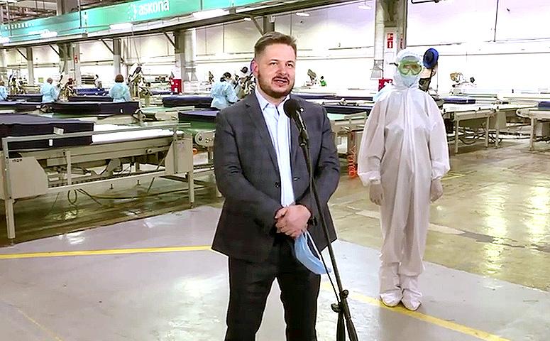 СЕО Askona Life Group Роман Ершов вышел на связь с президентом РФ прямиком с производственной площадки «Асконы»